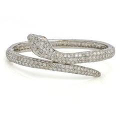 18.00 Carat 18k White Gold Diamond Snake Bangle Bracelet