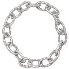 18.00 Carat Round Diamond 18 Karat White Gold Pave Set Diamond Chain Bracelet