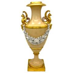 1800 Empire Nast Porcelain Griffins Masks Roses Flowers Garlands France Vase