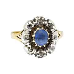 1800 Georgian 1.30 Carats Sapphire Diamond Silver-Topped 14 Karat Gold Floral Cl