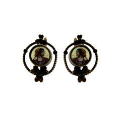 1800 Gold Earrings with Enamel Miniatures