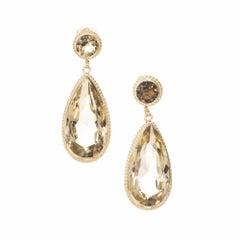 18.00 Pear Round Smoky Quartz Gold Dangle Earrings