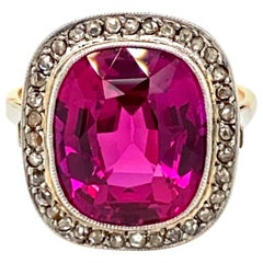 1800 Ruby Diamond Gold Cluster Ring