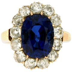1800 Sapphire Diamond Gold Cluster Ring