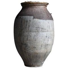 1800s-1900s Japanese Pottery Edo Period Tsubo Wabisabi Ceramic Jar Clay
