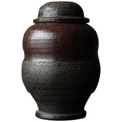 1800s-1900s Japanese Tsubo Meiji Period Pottery Ceramic Jar Wabisabi