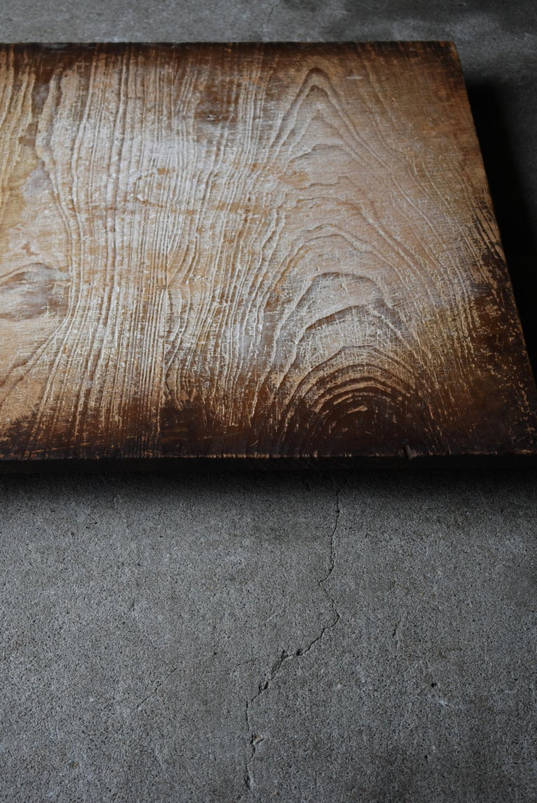 19th Century 1800s-1900s Japanese Wooden Board Abstract Art Wabisabi Picture For Sale