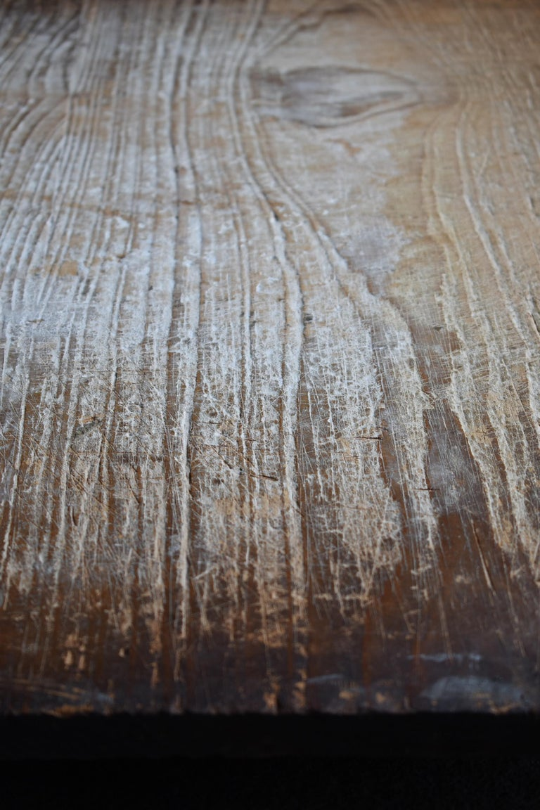 Cedar 1800s-1900s Japanese Wooden Board Abstract Art Wabisabi Picture For Sale