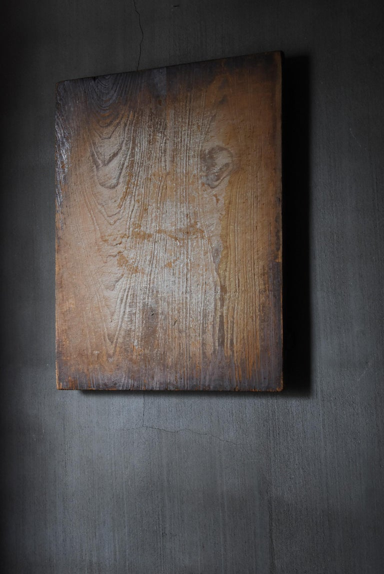 1800s-1900s Japanese Wooden Board Abstract Art Wabisabi Picture For Sale 1