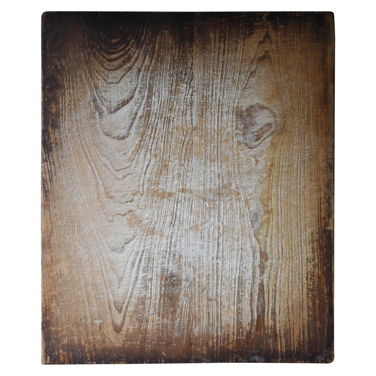 1800s-1900s Japanese Wooden Board Abstract Art Wabisabi Picture For Sale