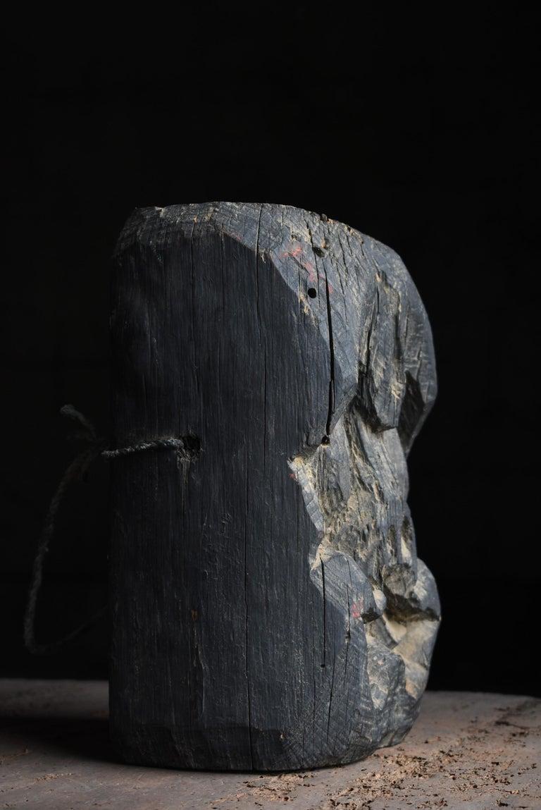 1800s-1900s Japanese Wooden Kamado God Sculpture Buddha Edo Period Wabisabi In Distressed Condition In Sammushi, JP