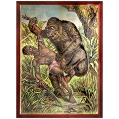 1800s Framed Courier Show Print Gorilla Poster