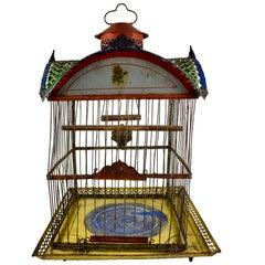 1800s American Victorian Era 'Hendryx Jappaned' Metal Bird Cage