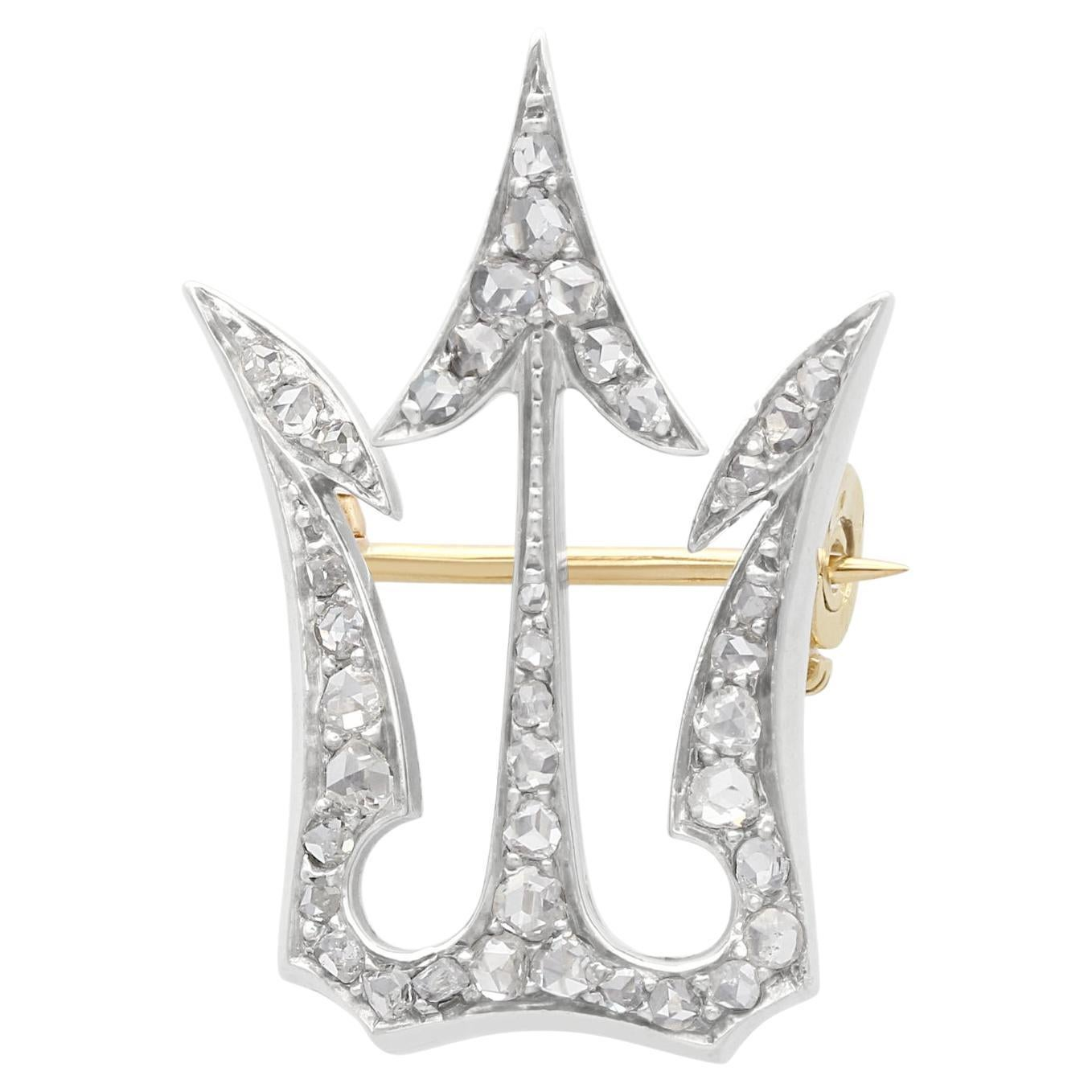 1800s Antique 0.75 Carat Diamond and Yellow Gold Brooch