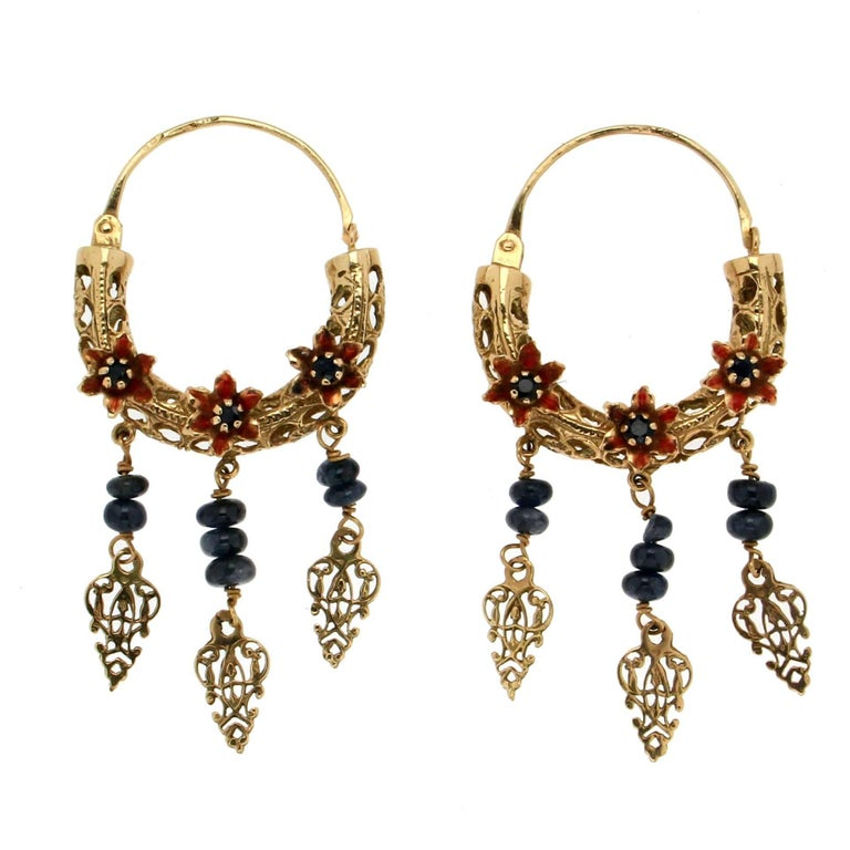 Gold Sapphires Drop Earrings