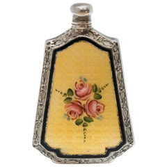 1800s Antique Sterling Silver and Guilloche Enamel Perfume Flask