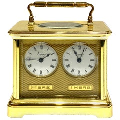 1800s Asprey Paris Bronze Brass and Crystal Travel Desk Clock