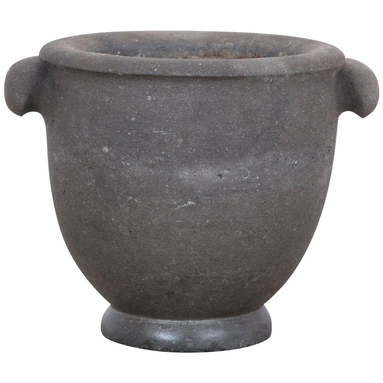 1800s Black Stone Mortar For Sale