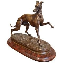 1800s Bronze Greyhound Dog Sculpture