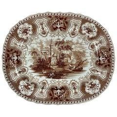 1800s Dixon Phillips & Co. Brown Australian Pattern English Transferware Platter