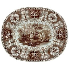 1800s Dixon Phillips & Co. Brown Australian Pattern English Transferware Platter