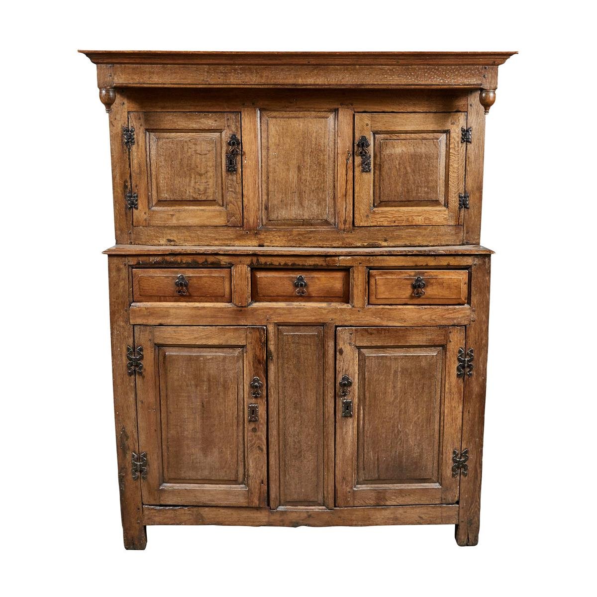 1800s English Court Oak Cupboard