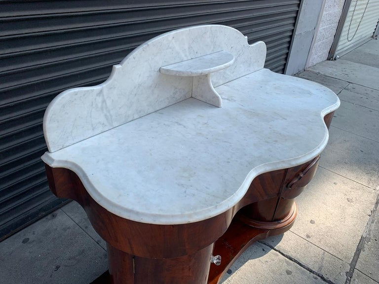 North American 1800s Entry Table with Marble Top by F. Danby's of Leeds For Sale