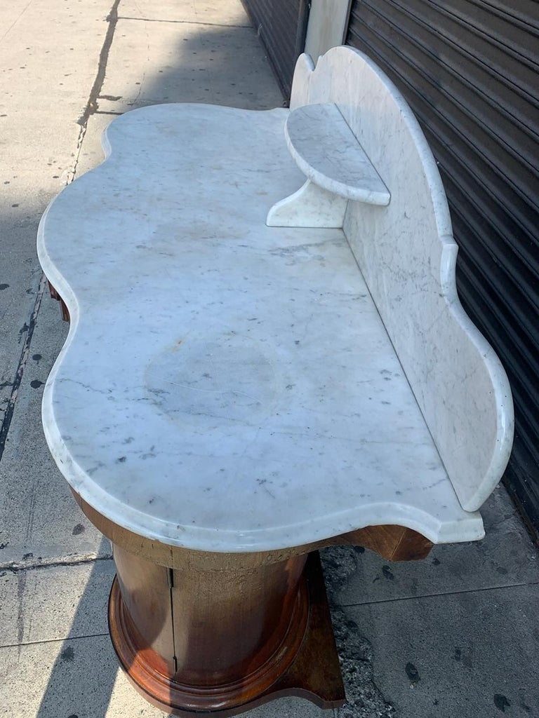 1800s Entry Table with Marble Top by F. Danby's of Leeds For Sale 2