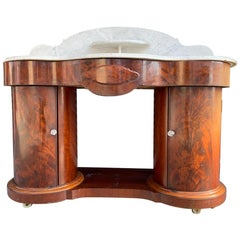 1800s Entry Table with Marble Top by F. Danby's of Leeds