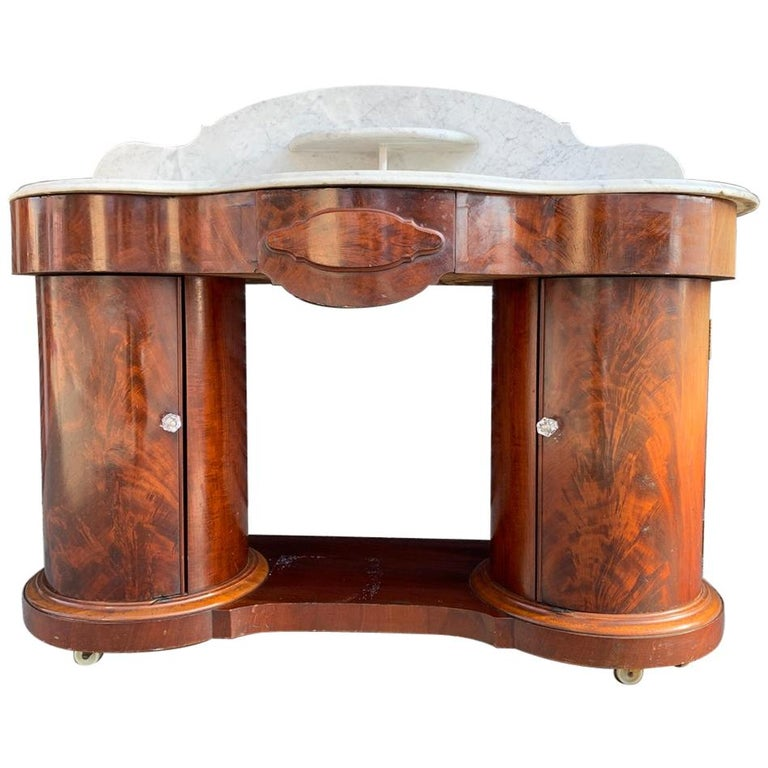 1800s Entry Table with Marble Top by F. Danby's of Leeds For Sale