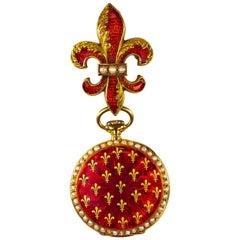 1800s French Art Nouveau 18 Karat Enamel Fleur-de-Lis Pearl Pendant Pocket Watch