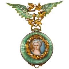 1800s French Art Nouveau Enamel Angel Winged Flower Pearl Wreath Pendant Watch