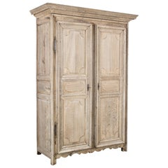 1800s French Bleached Oak Armoire