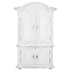 1800s French Country White Patinated Cabinet