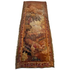 1800s Fringed Wool Needlepoint Scenic French Tapestry