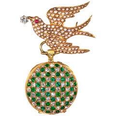 1800s Golay Fils Stahl 18kt Pearl Diamond Ruby Emerald Bird Lapel Pendant Watch