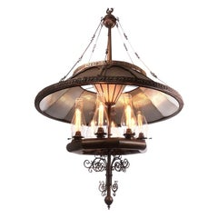1800s Grand Wheeler Ten-Light Reflector Chandelier