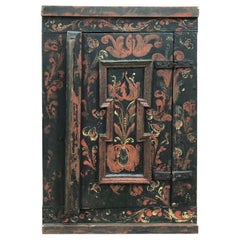 1800s Hand Painted Priest Wall Cabinet