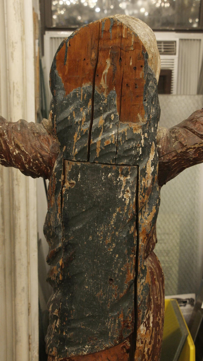 1800s Italian Hand Carved Wood Saint Statue For Sale 5