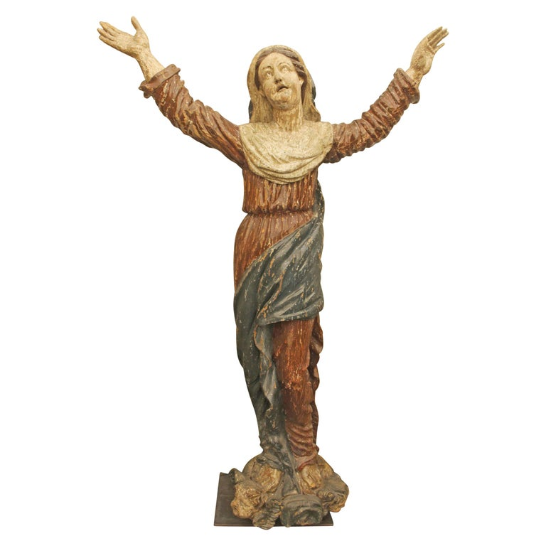 1800s Italian Hand Carved Wood Saint Statue For Sale
