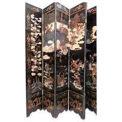 1800s Most Auspicious 8-Panel Lacquer Chinese Coromandel Screen-Signed
