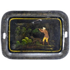 1800s New England Toleware Tray with Hunt Scene
