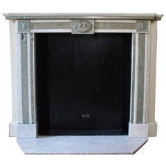 1800s NYC Waldorf Astoria Hotel Mantel White and Green Marble Regency Style