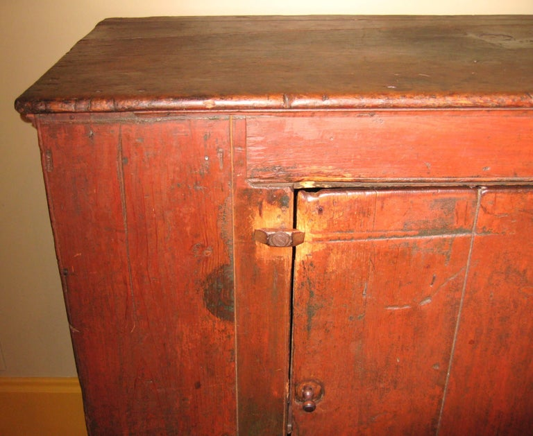 Stunning early one door Jelly cupboard. Two-shelf interior. Take a look at - 1800s One Door Primitive Farm House Antique Pine Jelly Cupboard