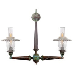1800s Two-Light Industrial Gas Lamp