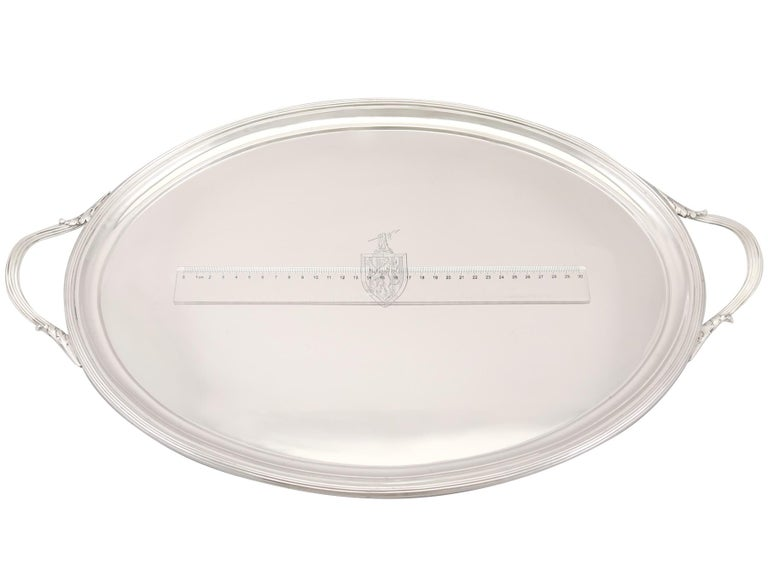 1802 Antique George III Sterling Silver Tray by William Stroud For Sale 3