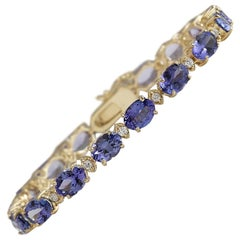 18.03 Carat Natural Tanzanite 18 Karat Yellow Gold Diamond Bracelet