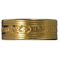 1804 Georgian 22 Carat Gold Elenor Baldock Mourning Band Ring