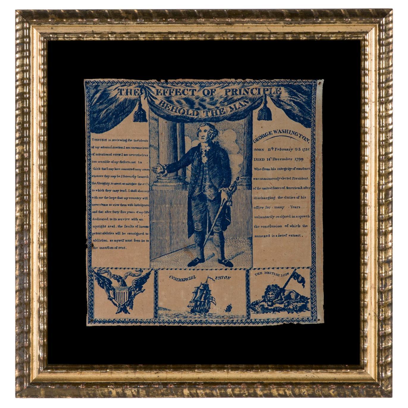1806 Printed Linen Kerchief Glorifying George Washington, Germantown, Penn