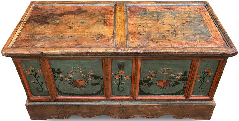 1807 Blu Painted Alpine Central Europe Blanket Chest For Sale 5
